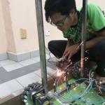 IIUM Roboteam during their preparation for ROBOCON 2018
